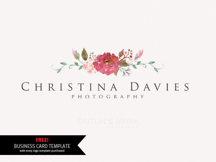 Photography logo design Watercolor logo flower by CaitlinsMedia