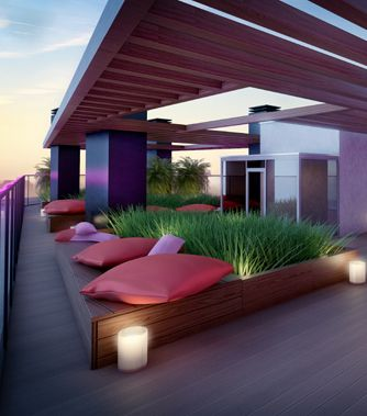 Rooftop seating and garden built in, decking