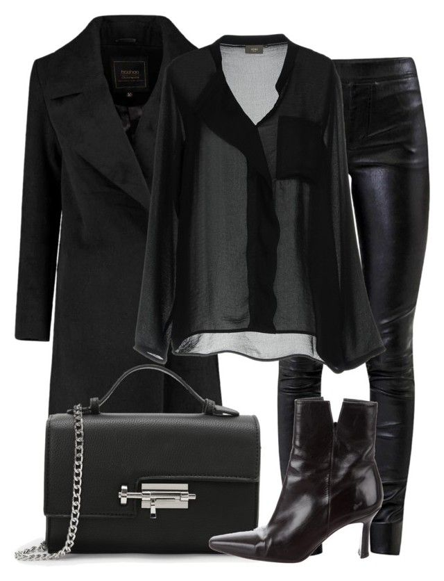 484dbcac3a4935 Black blouse+black leather pants+black heeled ankle boots+black wool coat+ black chain shoulder bag. Winter Dressy Casual  Night Date  Night Out   Dinner  ...
