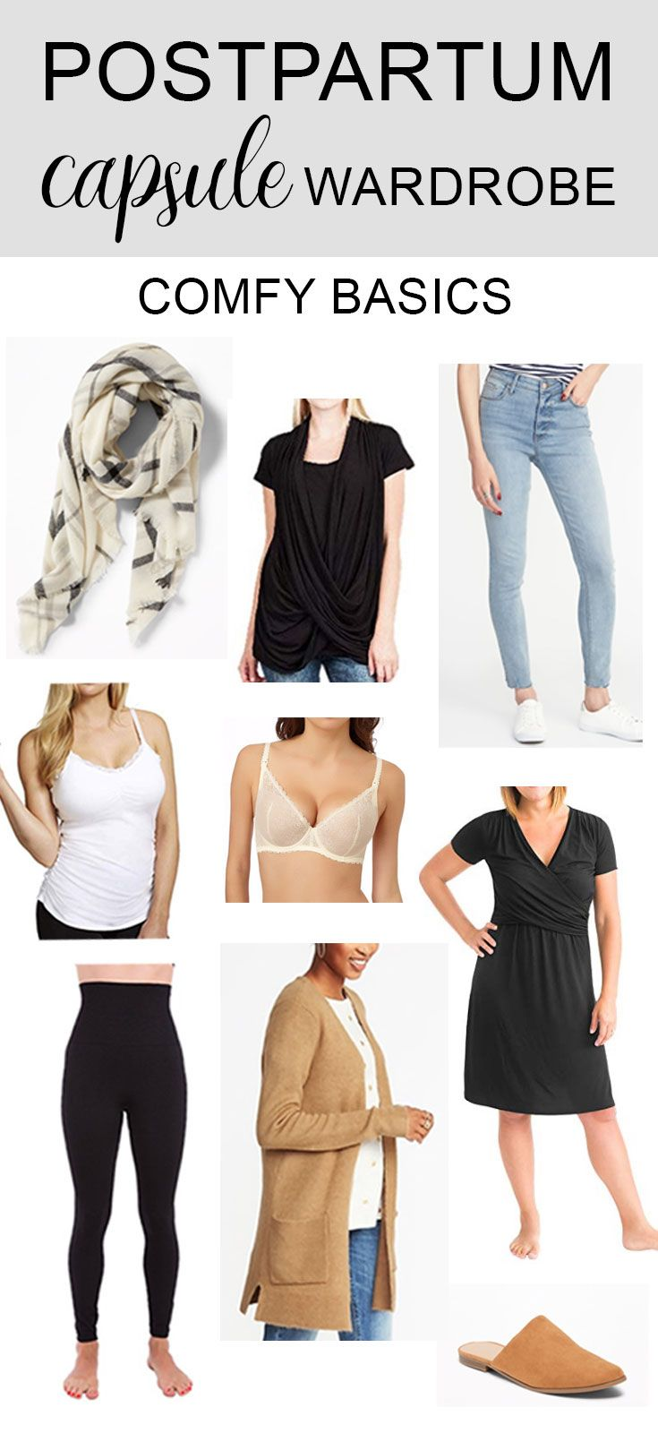 af7e367c0ffd2 ESSENTIAL COZY CLOTHING ITEMS FOR POSTPARTUM NURSING MOMS. This collection  of basic, post pregnancy clothes includes all of the essential clothing  items for ...