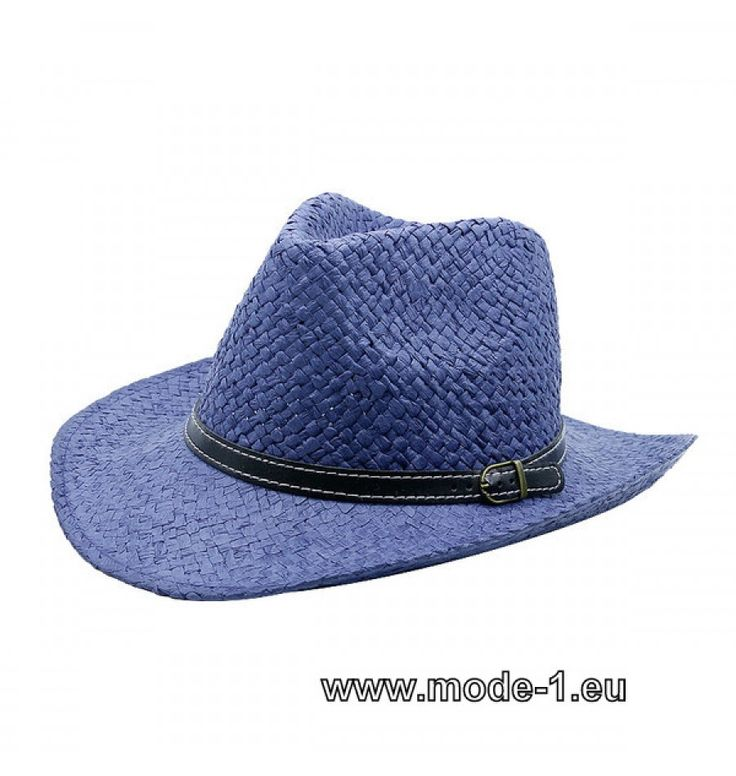 Herren Stroh Hut in Blau