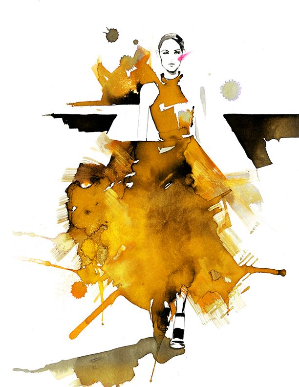 Amelie Hegardt #fashion illustration #ink drawings #yellow dress #trafficnyc