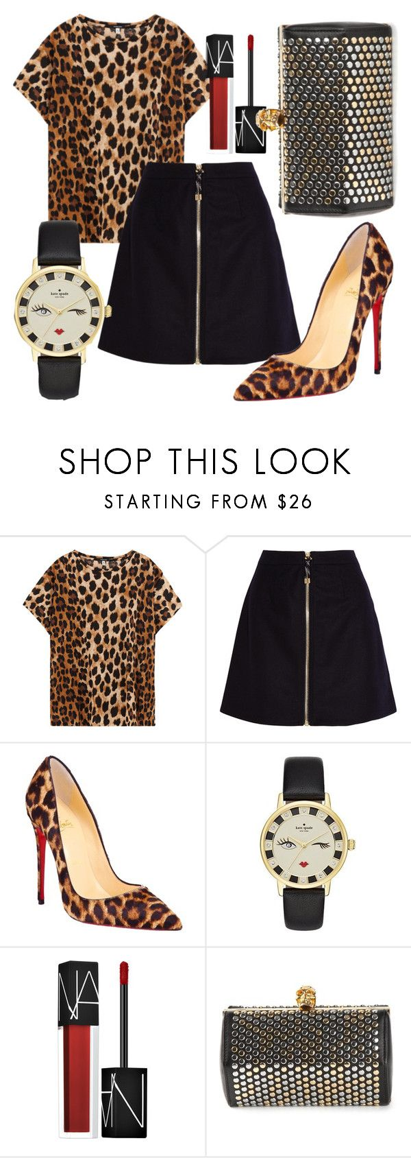"""""""Huntress on the Prowl"""" by fashionforwarded ❤ liked on Polyvore featuring R13, Acne Studios, Christian Louboutin, Kate Spade, NARS Cosmetics and Alexander McQueen"""