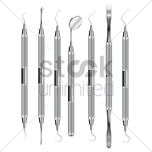 collection of dental instruments vector graphic