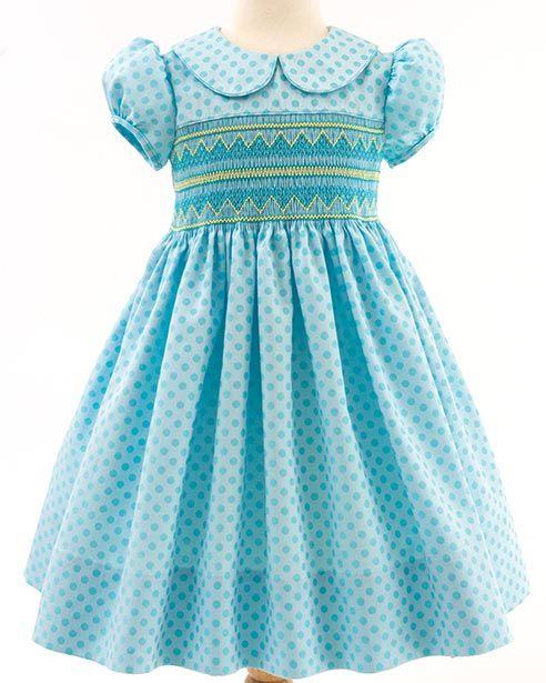 Summer Sprinkles - Classic Sewing Magazine  Dress by Vaune Pierce, smocking plate is Grace Knott #1009, Jewelled Pyramid.Jeweled Pyramid