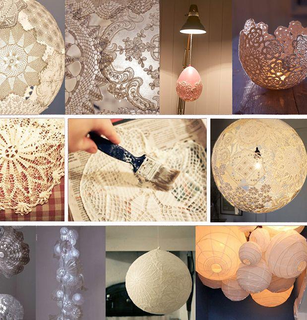 Decoraties van kant zorgen voor een toefje romantiek thuis, ook na de kerst. Een kanten lampenkap of theelichtjeshouder maak je gemakkelijk zelf.