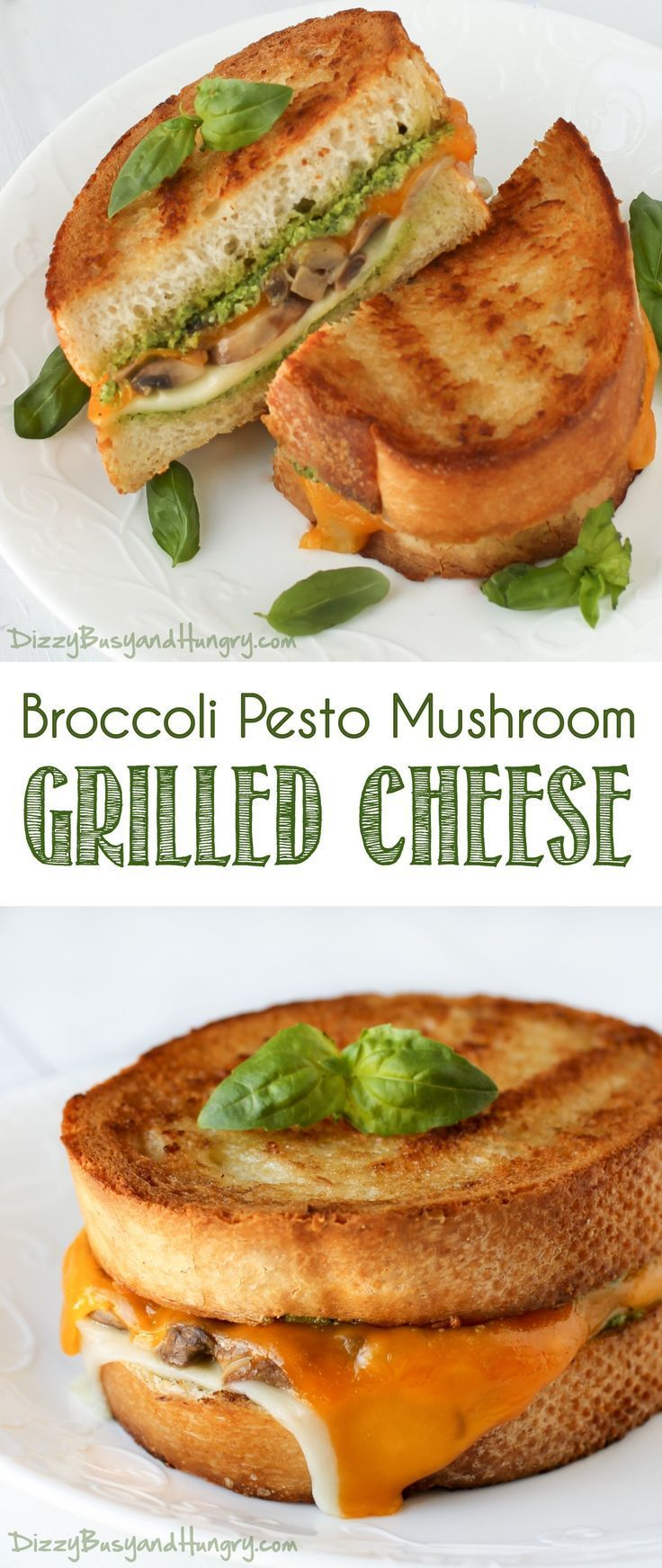 Broccoli Pesto Mushroom Grilled Cheese | http://DizzyBusyandHungry.com - Delicious, hearty grilled cheese sandwich perfect for lunch or a quick and easy dinner!