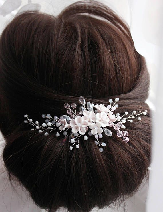 Wedding flower hair comb Bridal hair accessory Pink Bridal headpiece Wedding hair piece Wedding hair jewelry Free shipping The bride is the embodiment of beauty, tenderness and grace, and the wedding is exactly the case when a girl should look really flawless. Hair accessories are an