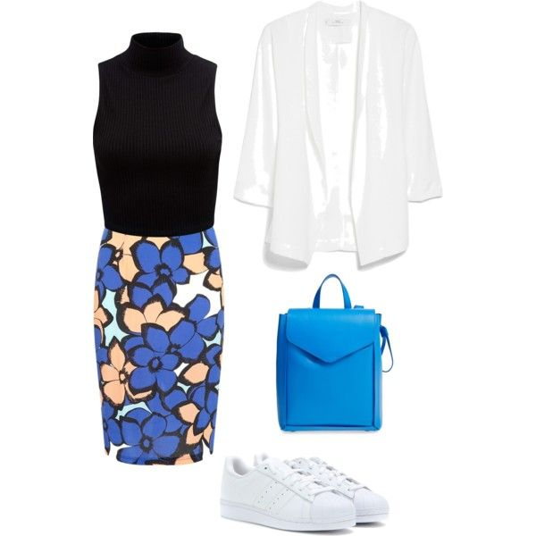 Untitled #16 by catarina-teixeira-de-queiros on Polyvore featuring polyvore fashion style Forever New MANGO adidas Originals Loeffler Randall