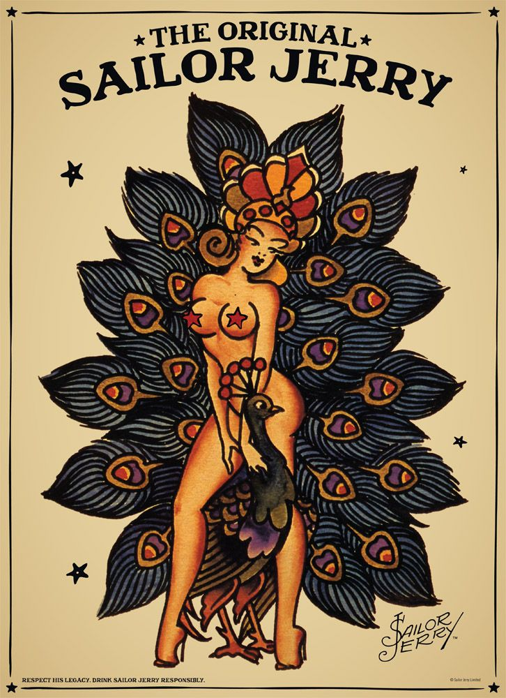 I would like to get this tattoo done at some point. Amazing!!! Sailor Jerry Tube Poster #4 Peacock Fever