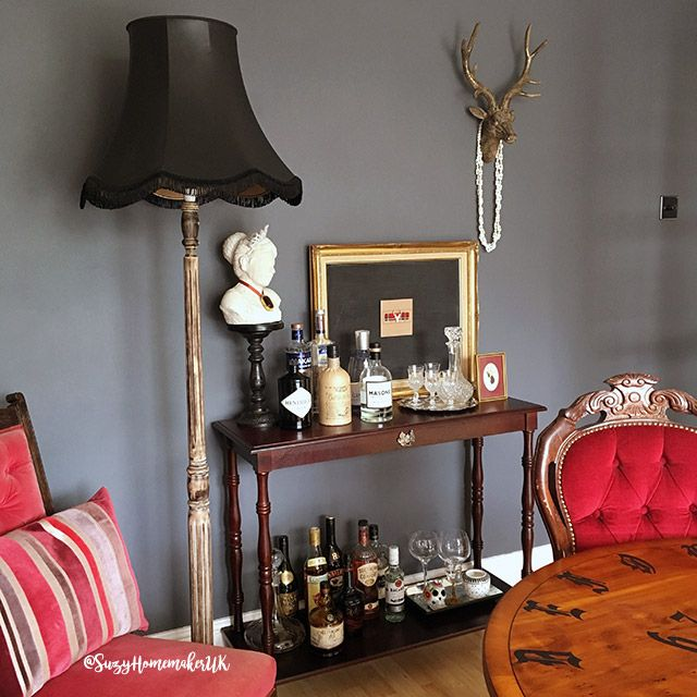 Inspirational Victorian Gothic inspired dining room plete with upcyled charity shop and second hand furniture