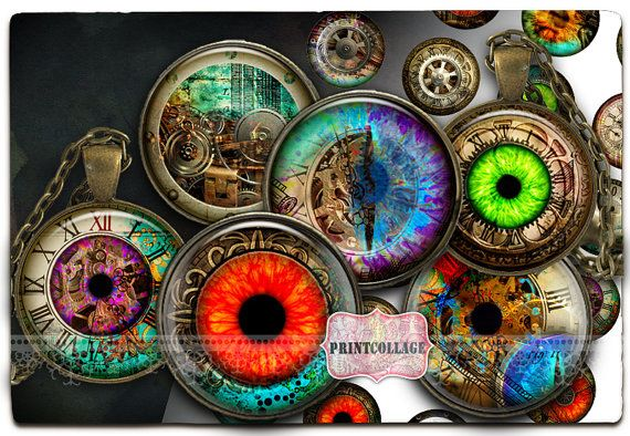 #Steampunk#eyes#bottlecaps Steampunk images Digital Printable Sheet Cabochon by PrintCollage