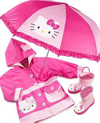 Western Chief Kids Rain Gear, Girls Hello Kitty Polka Dot - Kids - Kids schmids.  Imma need this in plus size plz.
