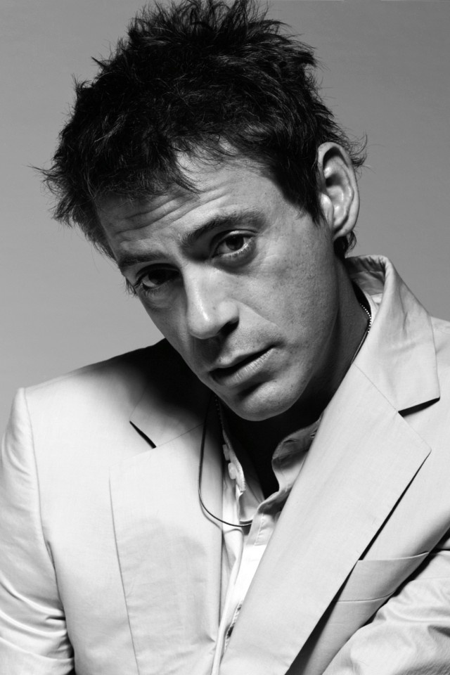 Wallpaper iPhone 4S, 4, iPod touch 4G 640x960 robert downey jr, black white, face, jacket, emotions, actor Background Download Apple Picture, Image WallpapeprsCraft
