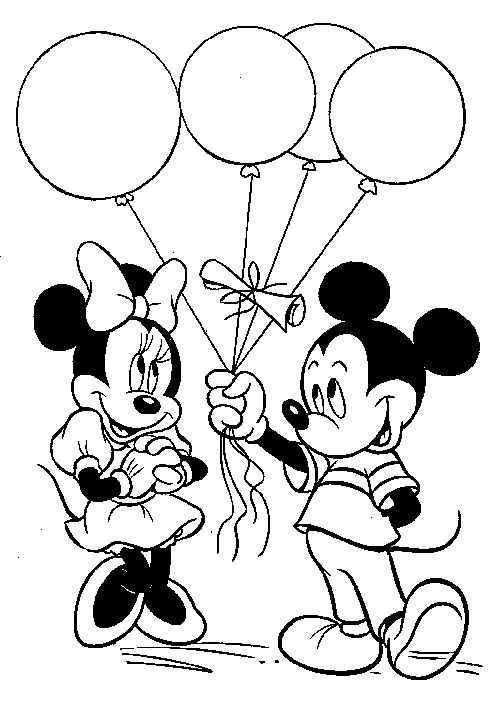 Mickey Mouse Balloons To Give Minnie Coloring Pages Crafts