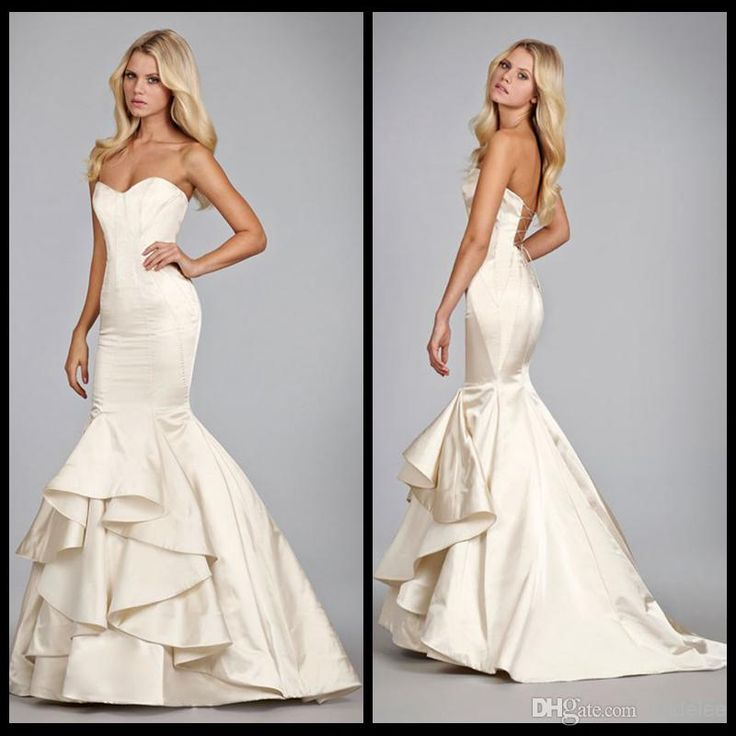 Fashion hayley paige satin style fit and flare cascading for Satin fit and flare wedding dress