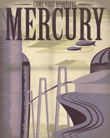 Retro Sci-Fi Mercury Travel Poster - 8x10 Print