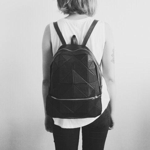 Kosiniec - black leather geometric backpack