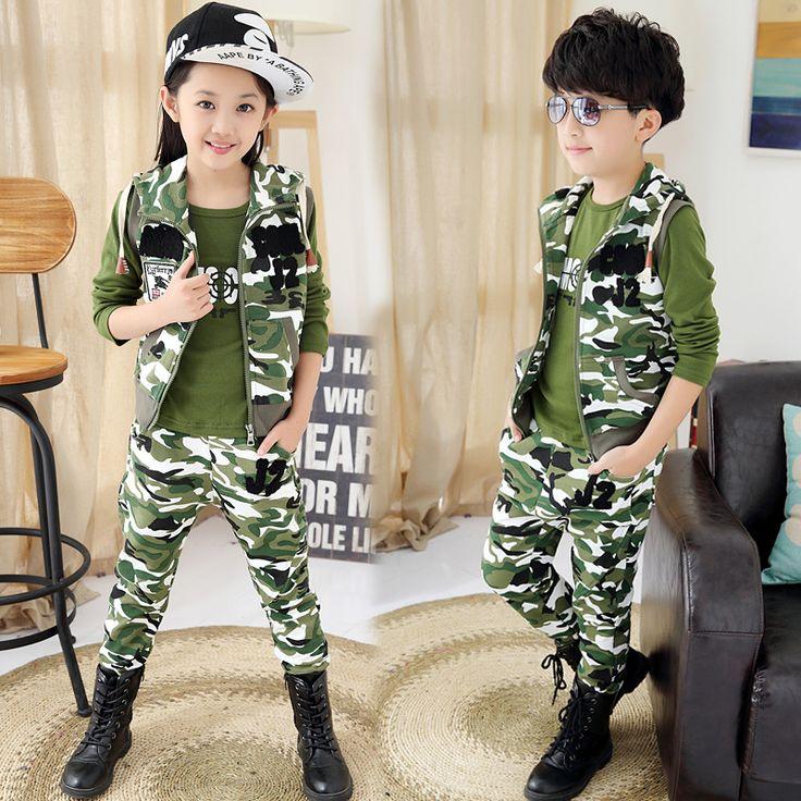 >> Click to Buy << children set 3 pcs/lot camouflage sports sweater vest+t shirt+ pant teenage boys/girls clothing kids boys suitschild sets 4-18Y #Affiliate