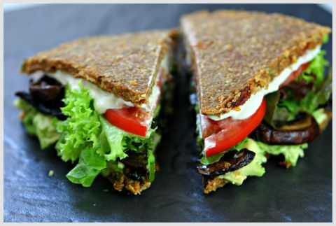 raw buckwheat bread sandwich