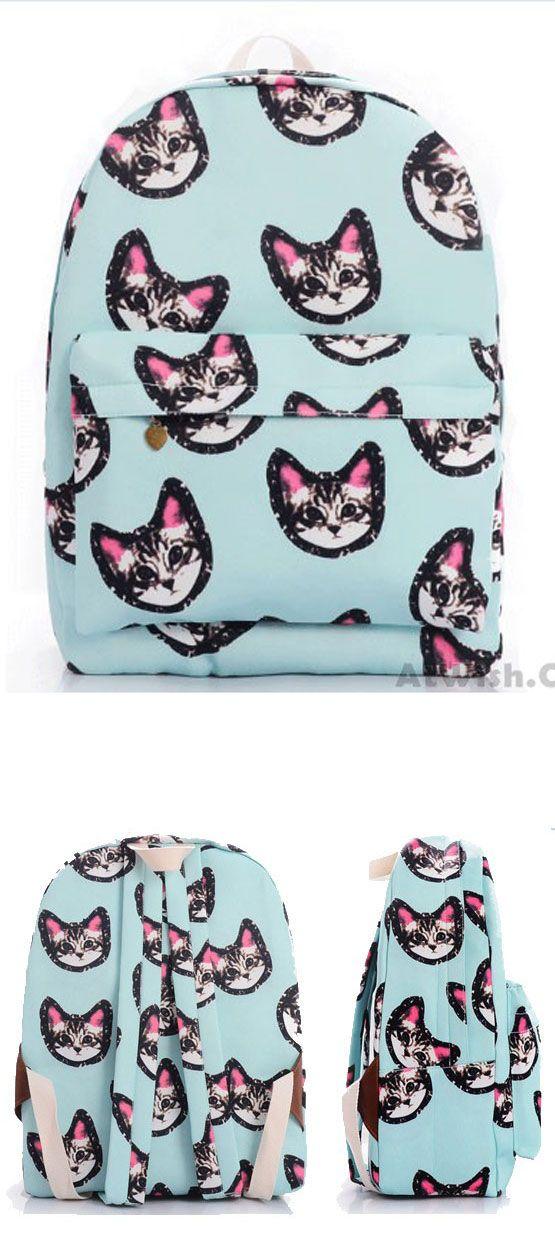 Light Blue Sweet Lovely Kitten Printing Canvas School Bag Satchel Backpack for big sale! #kitten #canvas #school #Backpack #college #cat