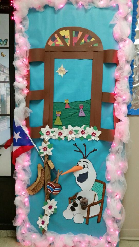 Best Christmas Classroom Decorations ~ Olaf frozen three kings puerto rico christmas door