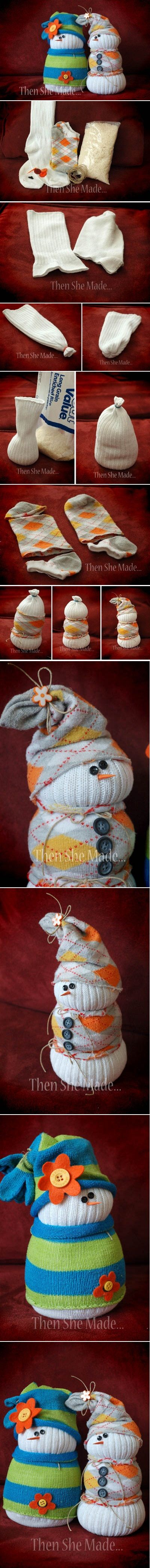 Adorable Sock Snowmen- not that she needs more snowmen but it's cute