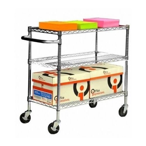 Kitchen-Utility-Cart-Rolling-Serving-Bar-Trolley-Rack-Chrome-Portable-Industrial