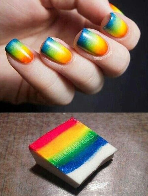 Rainbow kissed Ombre nail art design. Why not incorporate all the colors into your nails right? This cute little number just does it right.