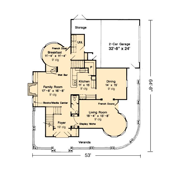 First Floor Plan of Country   Farmhouse  Victorian   House Plan 95539