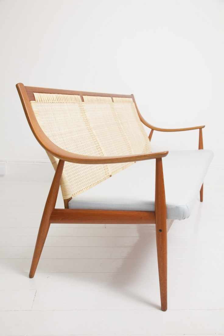 Anonymous; Teak And Cane Sofa By France & Son, 1950s