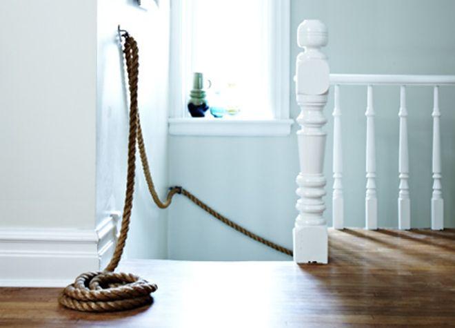 DIY Rope Stair Banister | 36 Utterly Charming Nautical DIYs