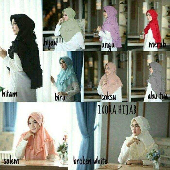 Jilbab Instan Ixora Hijab with pad, Hijab Instan pad Antem dilengkapi dengan aksesoris Tali pada bagian belakang dan Rempel cantik pada bagian dada disekeliling hijab, syari