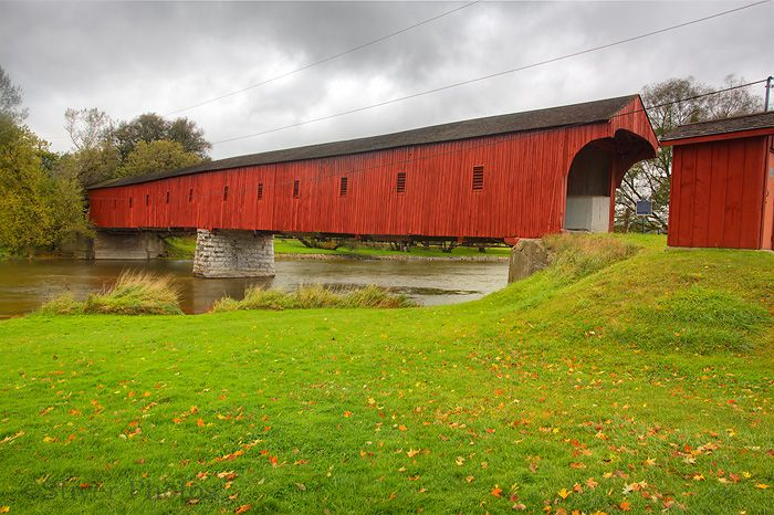 Covered Bridge, crossing the Grand River in West Montrose, Ontario, Canada (a.k.a. The Kissing Bridge) This is the last of the original covered bridges in Ontario. Circa 1881