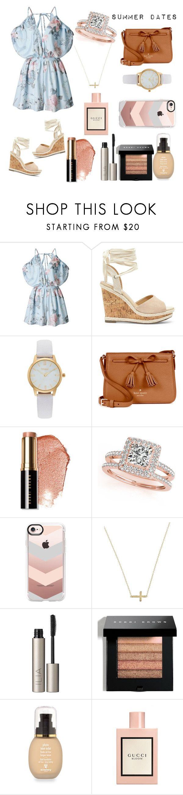 """""""Summer Engagement"""" by rhiley04 ❤ liked on Polyvore featuring Sole Society, Vivani, Kate Spade, Bobbi Brown Cosmetics, Allurez, Casetify, Lord & Taylor, Ilia, Sisley and Gucci"""