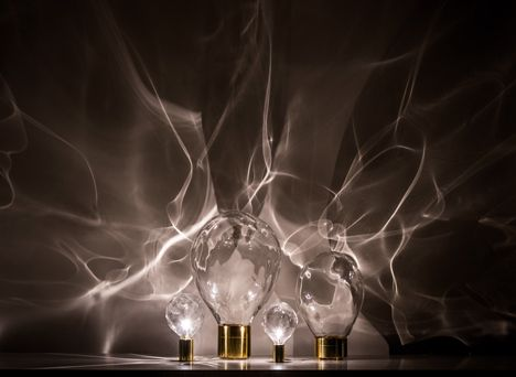 Ripple effect captured in glass-domed lighting by Poetic Lab