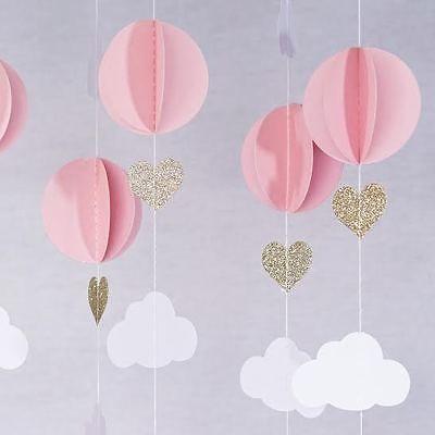 Pink White Gold Glitter Hot Air Balloon Hearts Cloud Baby Nursery Garland Banner