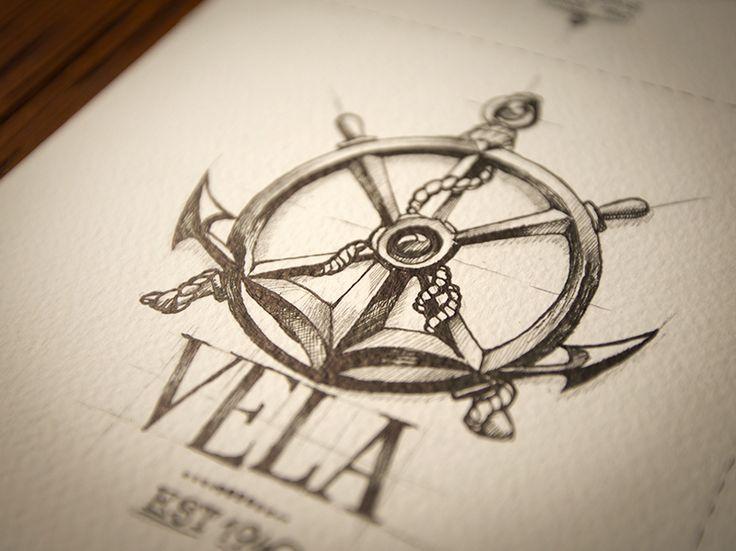 anchor & steering tattoo design