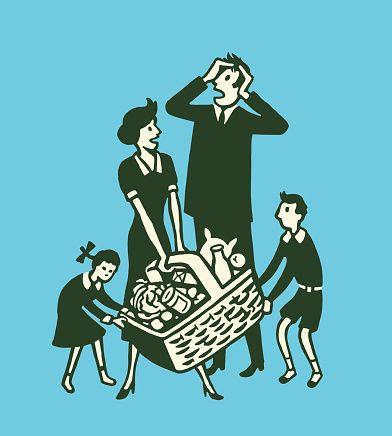 Vector Art : Family Fighting Over Picnic Basket