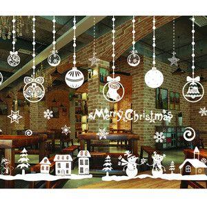 Christmas Window Decoration Santa Claus/deer/snowflakes/snowman Christmas Pringting Draw Ner Year Enfeites de natal