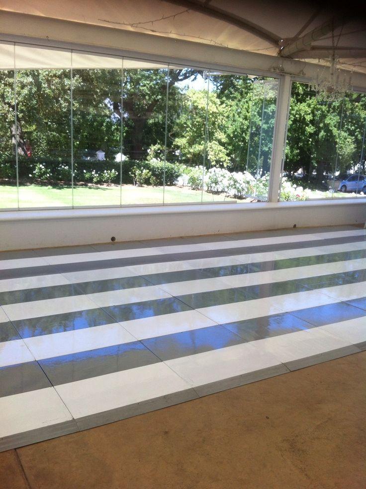 Grey & white stripe painted wedding dance Connecta-Floor.  Very elegant. Very beautiful floor.