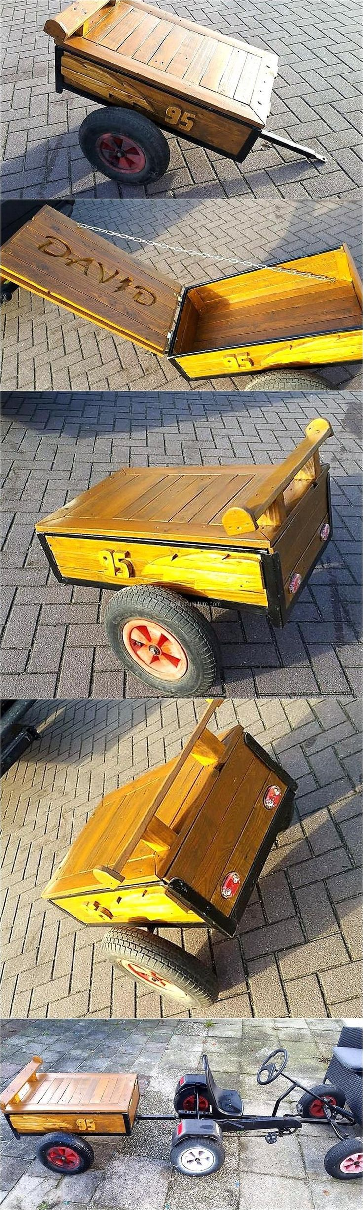 wood pallet mobile toybox for kids