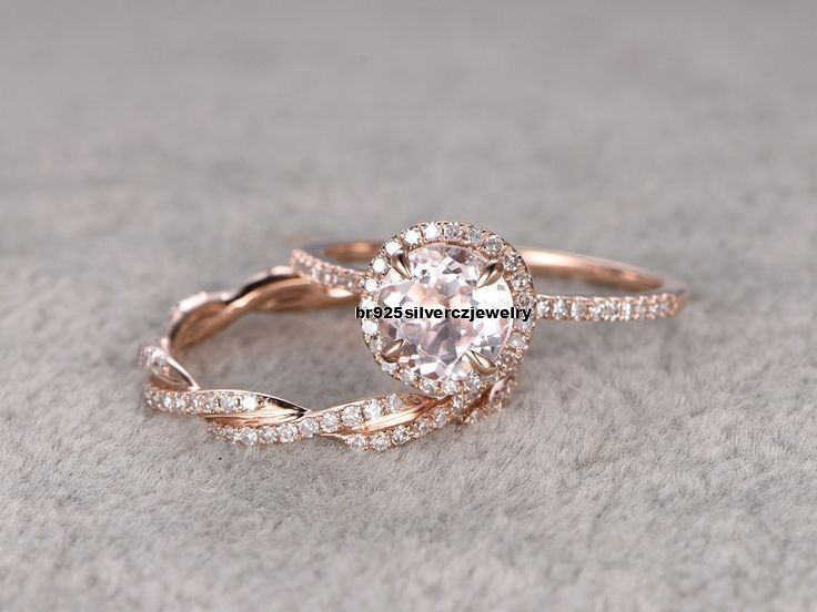 2ct Morganite & Diamond Twist Bridal Engagement 14K Rose Gold Over Promise Ring #br925silverczjewelry #SolitairewithAccents #EngagementWeddingPartyWearAnniversary