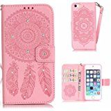iPhone 5s SE Case, KKEIKO® iPhone 5 / iPhone 5s / iPhone SE Wallet Case, Flip Leather Case and Cover with Bling Rhinestone, Book Style Bumper Cover Case for Apple iPhone 5 / iPhone 5s / iPhone SE with Free Tempered Glass Screen Protector (Pink)