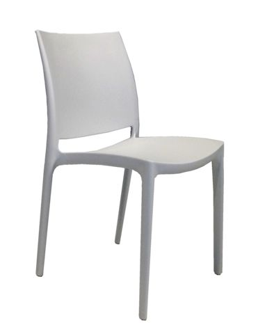 Vata Dining Chair - Fabulous indoor or out, the molded plastic Vata Chair is available in stock in White or Grey.