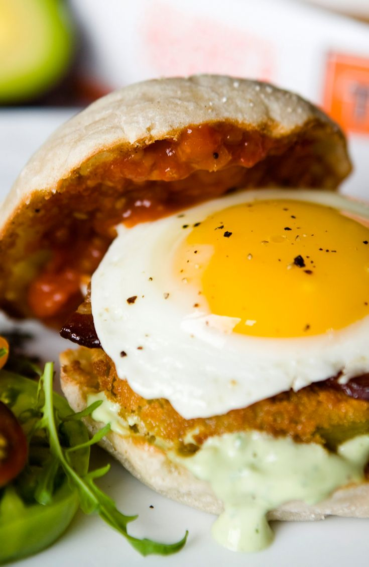 Thomas' Fried Green Tomato Breakfast Sandwich with Egg, Bacon and Avocado Ranch