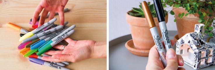 """DIY Sharpie på porcelæns fyrfadsstage """"hus"""" - se mere på BLOG Bog & idé"""