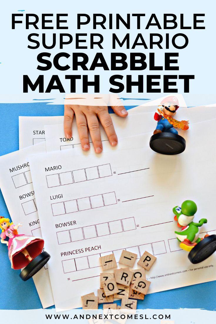 Super Mario Themed Scrabble Math Free Printable Kids Math Worksheets Super Mario Printables Free Kids [ 1102 x 735 Pixel ]