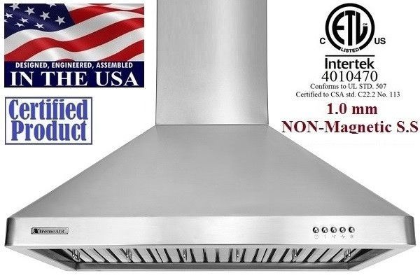 XtremeAir Non Magnetic Stainless Steel Wall Mount Range Hood UL02-W30