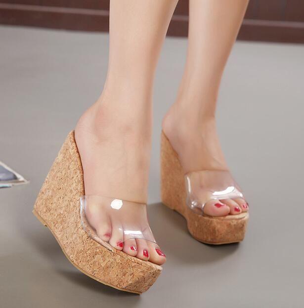 3a44185fbd Womens Zebra Leopard Platform High Wedge Heels Transparent Beach Sandals  Shoes